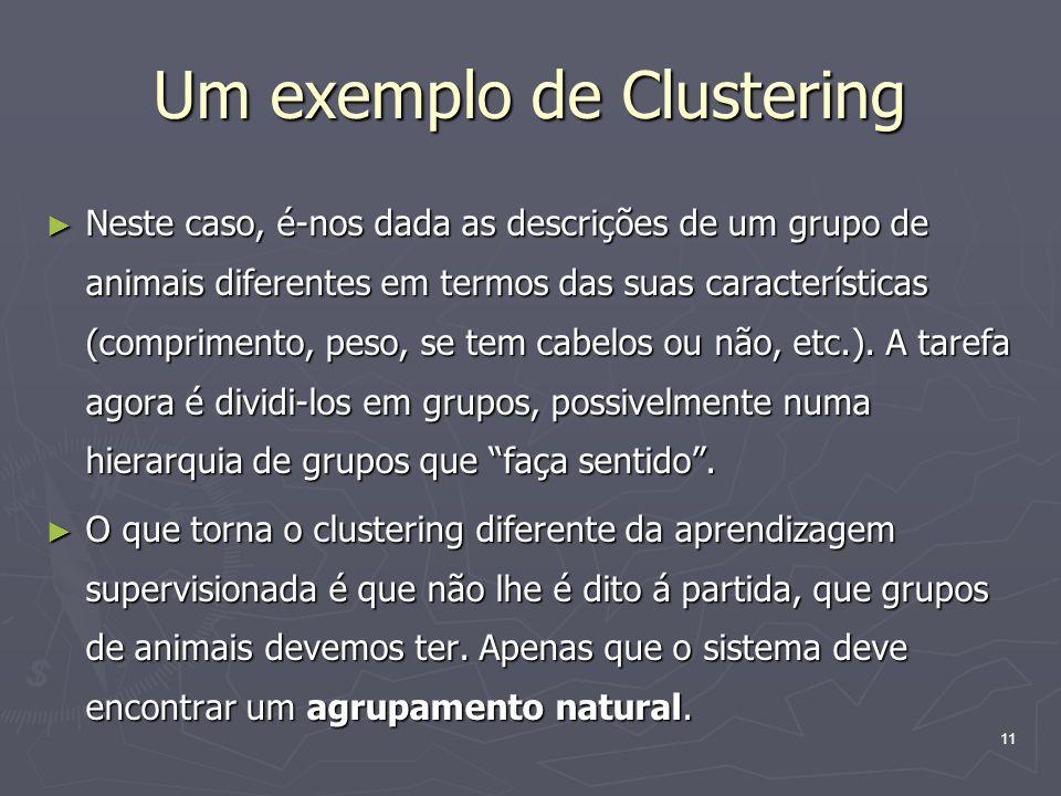 11 Um exemplo de Clustering ► Neste caso, é-nos dada as descrições de um grupo de animais diferentes em termos das suas características (comprimento, peso, se tem cabelos ou não, etc.).