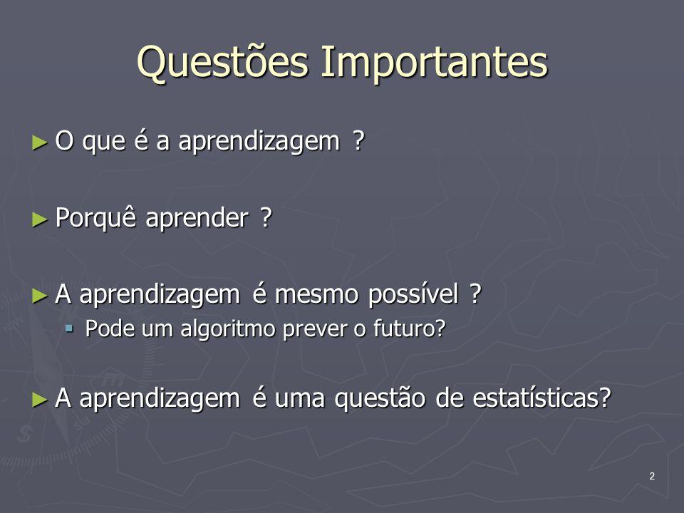 2 Questões Importantes ► O que é a aprendizagem .► Porquê aprender .