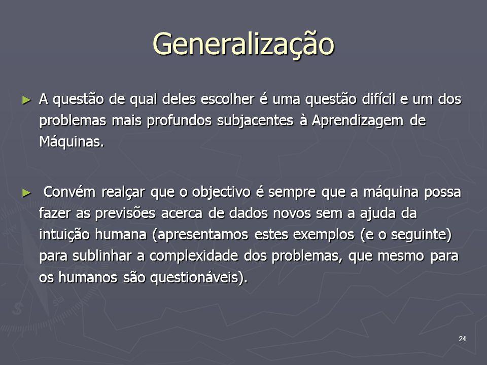 24 Generalização ► A questão de qual deles escolher é uma questão difícil e um dos problemas mais profundos subjacentes à Aprendizagem de Máquinas.