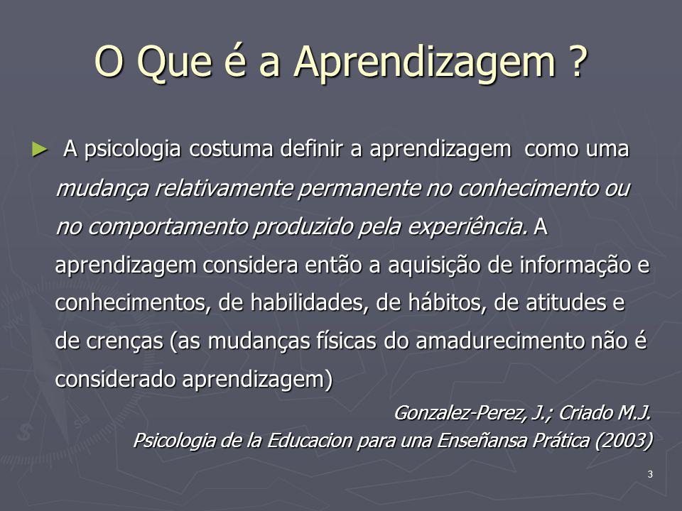 3 O Que é a Aprendizagem .