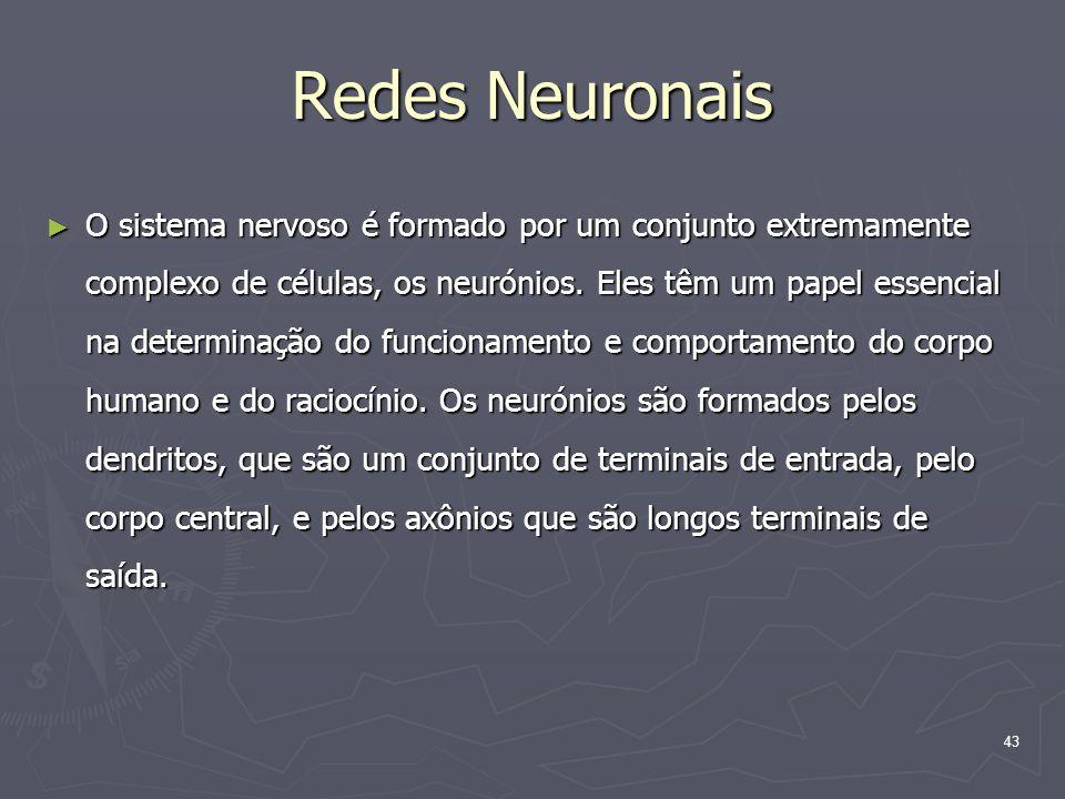 43 Redes Neuronais ► O sistema nervoso é formado por um conjunto extremamente complexo de células, os neurónios.
