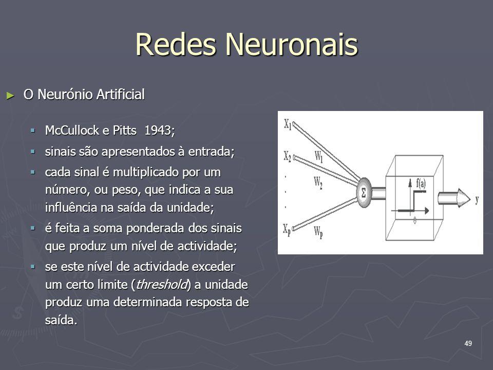 49 Redes Neuronais ► O Neurónio Artificial  McCullock e Pitts 1943;  sinais são apresentados à entrada;  cada sinal é multiplicado por um número, ou peso, que indica a sua influência na saída da unidade;  é feita a soma ponderada dos sinais que produz um nível de actividade;  se este nível de actividade exceder um certo limite (threshold) a unidade produz uma determinada resposta de saída.