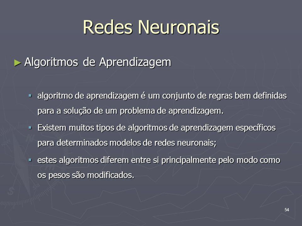 54 Redes Neuronais ► Algoritmos de Aprendizagem  algoritmo de aprendizagem é um conjunto de regras bem definidas para a solução de um problema de aprendizagem.