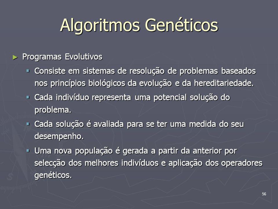 56 Algoritmos Genéticos ► Programas Evolutivos  Consiste em sistemas de resolução de problemas baseados nos princípios biológicos da evolução e da hereditariedade.