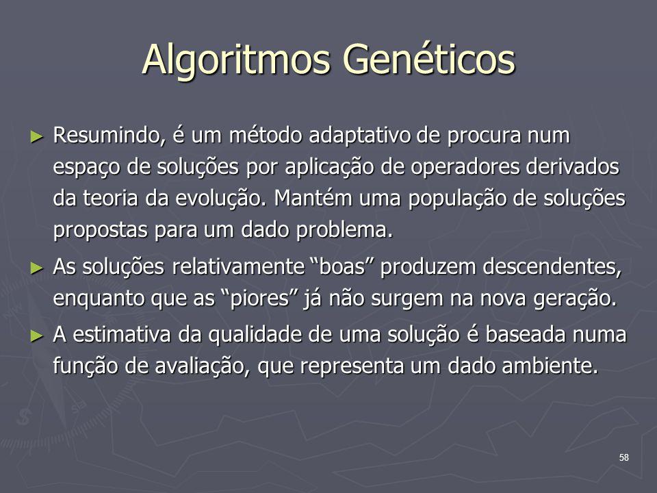 58 Algoritmos Genéticos ► Resumindo, é um método adaptativo de procura num espaço de soluções por aplicação de operadores derivados da teoria da evolução.