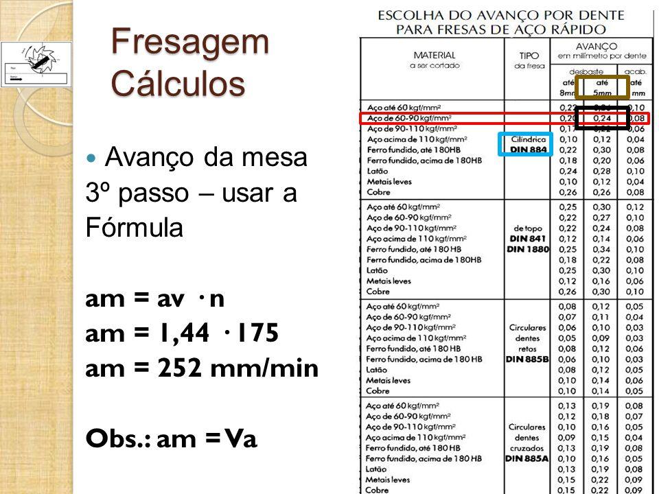 Fresagem Cálculos Avanço da mesa 3º passo – usar a Fórmula am = av · n am = 1,44 · 175 am = 252 mm/min Obs.: am = Va