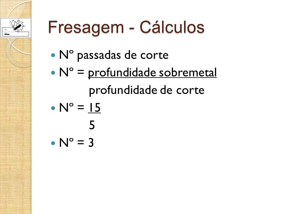 Fresagem - Cálculos Nº passadas de corte Nº = profundidade sobremetal profundidade de corte Nº = 15 5 Nº = 3