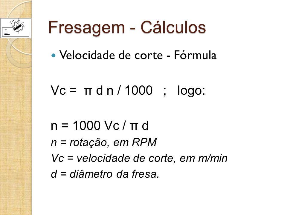 Fresagem - Cálculos Velocidade de corte - Fórmula Vc = π d n / 1000 ; logo: n = 1000 Vc / π d n = rotação, em RPM Vc = velocidade de corte, em m/min d = diâmetro da fresa.