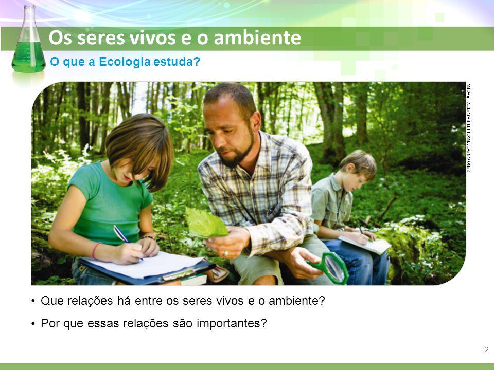 Os seres vivos e o ambiente O que a Ecologia estuda? Que relações há entre os seres vivos e o ambiente? Por que essas relações são importantes? ZERO C