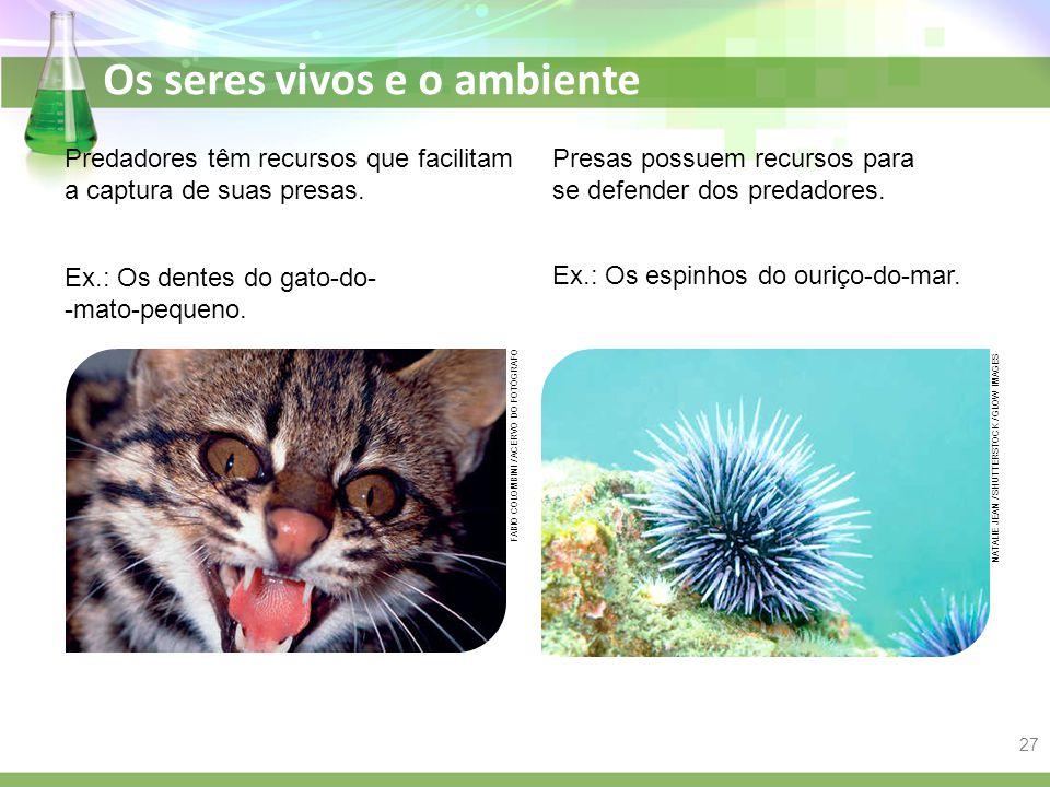 Os seres vivos e o ambiente Predadores têm recursos que facilitam a captura de suas presas. Ex.: Os dentes do gato-do- -mato-pequeno. Presas possuem r