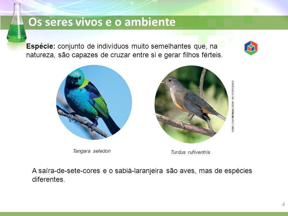 Os seres vivos e o ambiente Espécie: conjunto de indivíduos muito semelhantes que, na natureza, são capazes de cruzar entre si e gerar filhos férteis.