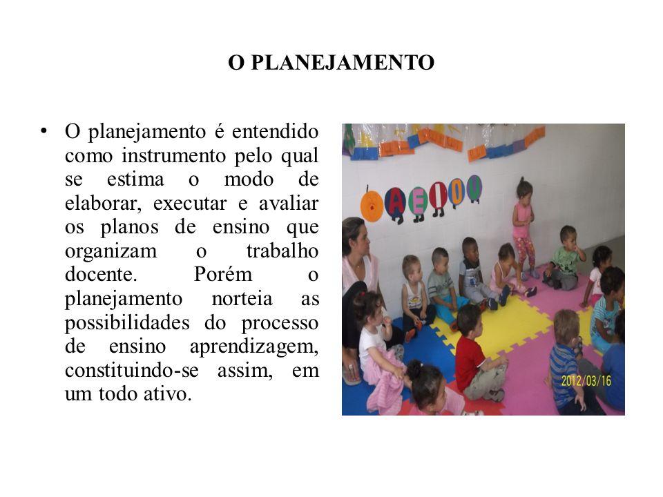 O PLANEJAMENTO O planejamento é entendido como instrumento pelo qual se estima o modo de elaborar, executar e avaliar os planos de ensino que organiza