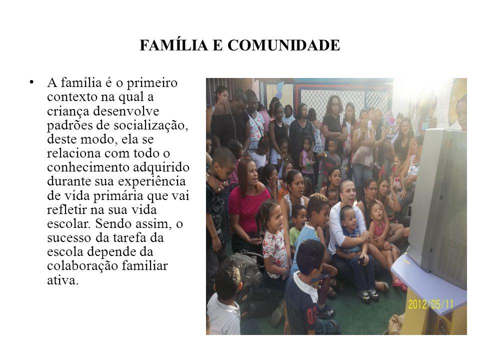 FAMÍLIA E COMUNIDADE A família é o primeiro contexto na qual a criança desenvolve padrões de socialização, deste modo, ela se relaciona com todo o con