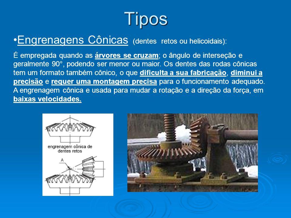 Tipos Engrenagens Cônicas (dentes retos ou helicoidais): É empregada quando as árvores se cruzam; o ângulo de interseção e geralmente 90°, podendo ser