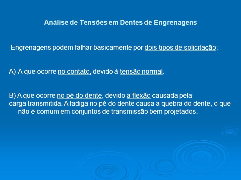Análise de Tensões em Dentes de Engrenagens Engrenagens podem falhar basicamente por dois tipos de solicitação: A)A que ocorre no contato, devido à te