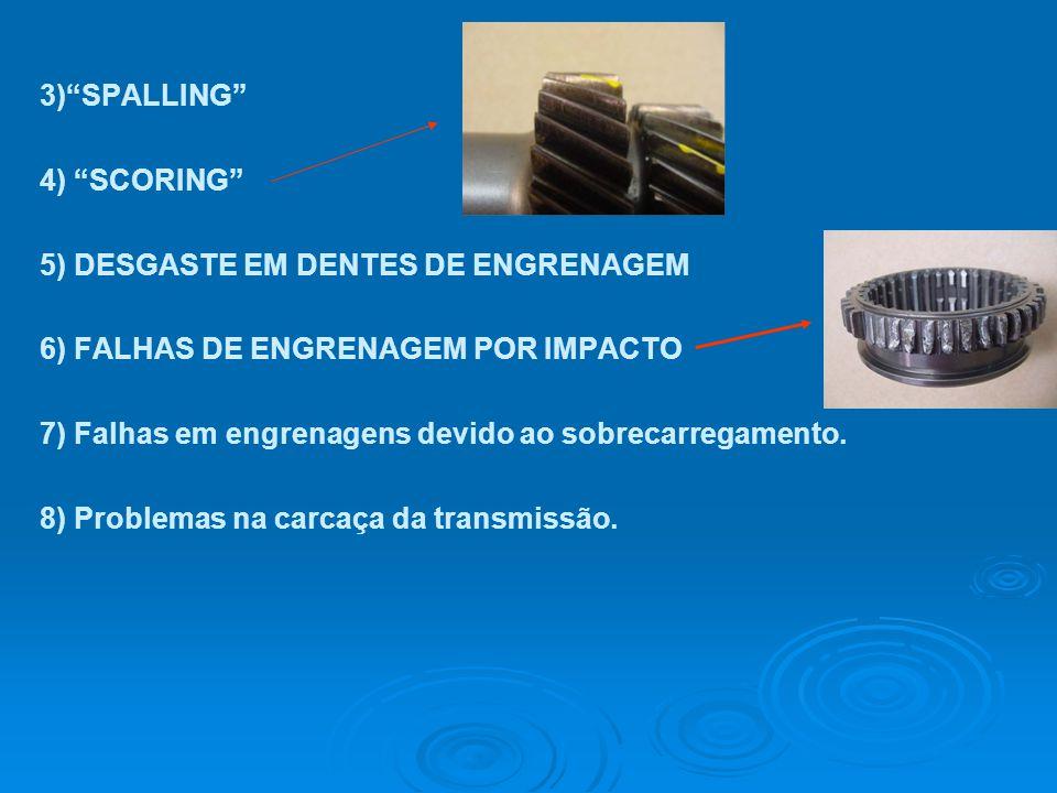 """3)""""SPALLING"""" 4) """"SCORING"""" 5) DESGASTE EM DENTES DE ENGRENAGEM 6) FALHAS DE ENGRENAGEM POR IMPACTO 7) Falhas em engrenagens devido ao sobrecarregamento"""