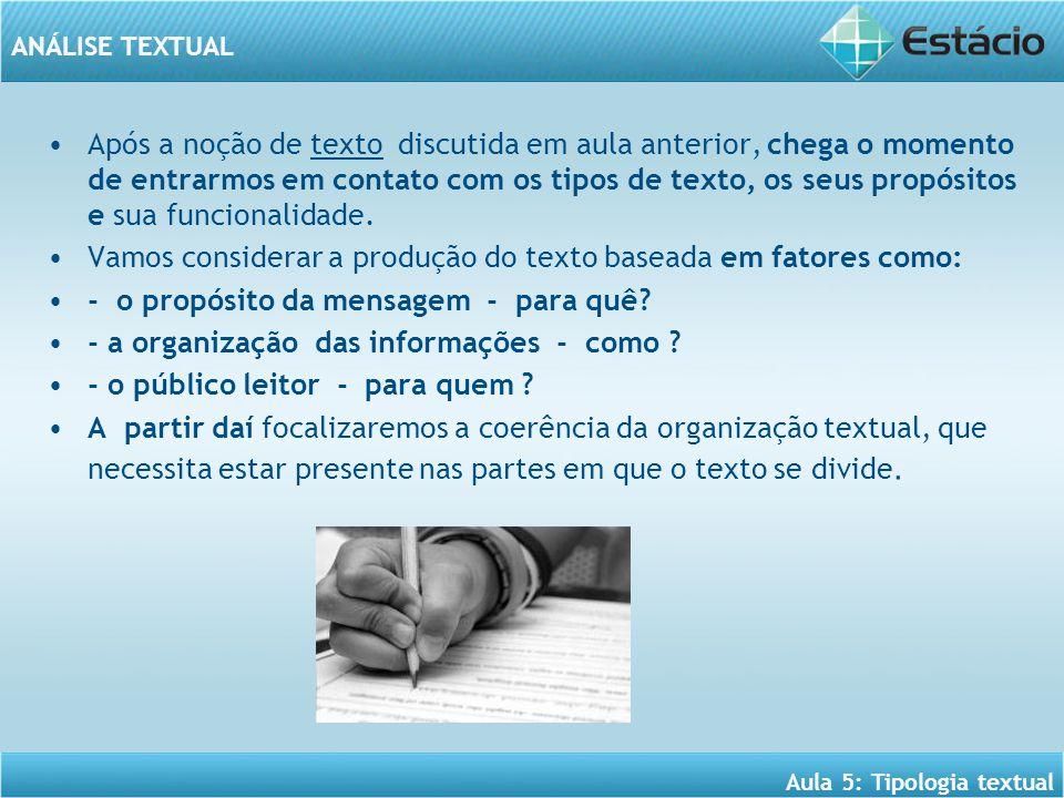 ANÁLISE TEXTUAL Aula 5: Tipologia textual Após a noção de texto discutida em aula anterior, chega o momento de entrarmos em contato com os tipos de texto, os seus propósitos e sua funcionalidade.