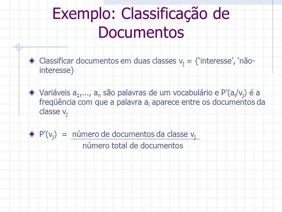 Exemplo: Classificação de Documentos Classificar documentos em duas classes v j = {'interesse', 'não- interesse} Variáveis a 1,..., a n são palavras d