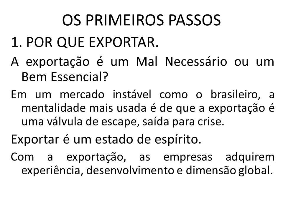 OS PRIMEIROS PASSOS 1. POR QUE EXPORTAR. A exportação é um Mal Necessário ou um Bem Essencial? Em um mercado instável como o brasileiro, a mentalidade