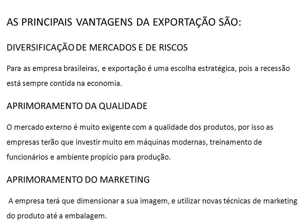 AS PRINCIPAIS VANTAGENS DA EXPORTAÇÃO SÃO: DIVERSIFICAÇÃO DE MERCADOS E DE RISCOS Para as empresa brasileiras, e exportação é uma escolha estratégica,