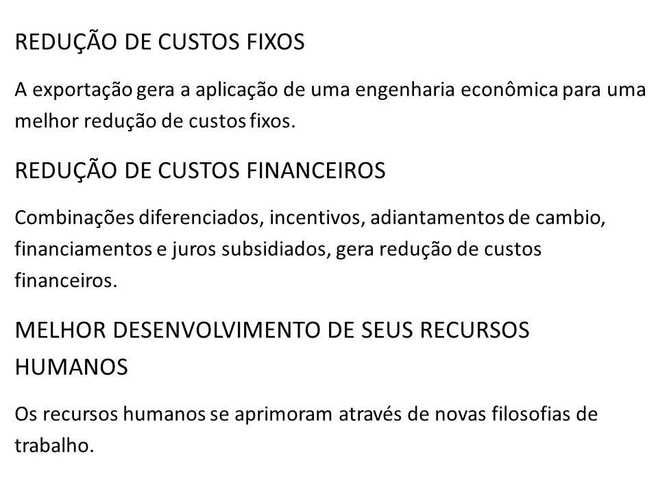 REDUÇÃO DE CUSTOS FIXOS A exportação gera a aplicação de uma engenharia econômica para uma melhor redução de custos fixos. REDUÇÃO DE CUSTOS FINANCEIR