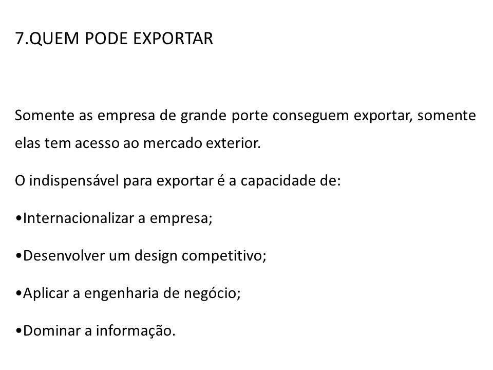 7.QUEM PODE EXPORTAR Somente as empresa de grande porte conseguem exportar, somente elas tem acesso ao mercado exterior. O indispensável para exportar