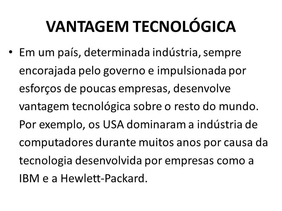 VANTAGEM TECNOLÓGICA Em um país, determinada indústria, sempre encorajada pelo governo e impulsionada por esforços de poucas empresas, desenvolve vant