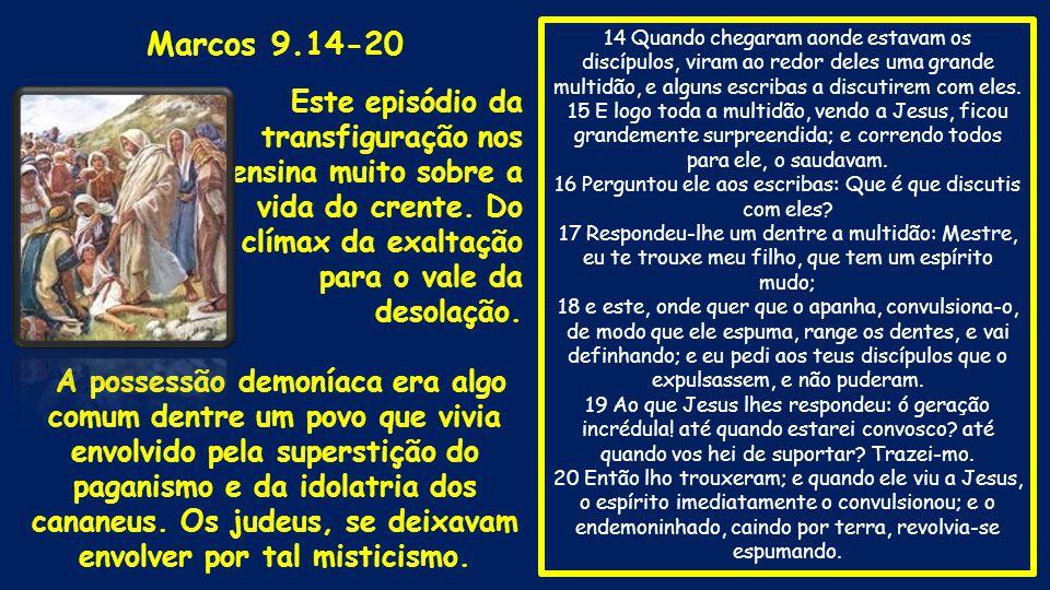 14 Quando chegaram aonde estavam os discípulos, viram ao redor deles uma grande multidão, e alguns escribas a discutirem com eles.