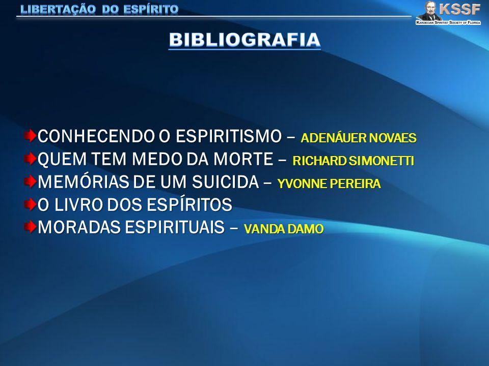 CONHECENDO O ESPIRITISMO – ADENÁUER NOVAES QUEM TEM MEDO DA MORTE – RICHARD SIMONETTI MEMÓRIAS DE UM SUICIDA – YVONNE PEREIRA O LIVRO DOS ESPÍRITOS MORADAS ESPIRITUAIS – VANDA DAMO