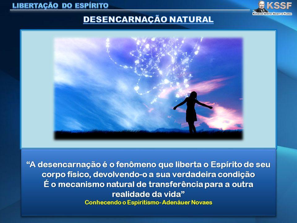 A desencarnação é o fenômeno que liberta o Espírito de seu corpo físico, devolvendo-o a sua verdadeira condição É o mecanismo natural de transferência para a outra realidade da vida Conhecendo o Espiritismo- Adenáuer Novaes A desencarnação é o fenômeno que liberta o Espírito de seu corpo físico, devolvendo-o a sua verdadeira condição É o mecanismo natural de transferência para a outra realidade da vida Conhecendo o Espiritismo- Adenáuer Novaes
