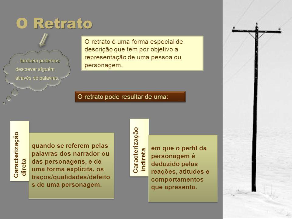 Retrato O Retrato O retrato é uma forma especial de descrição que tem por objetivo a representação de uma pessoa ou personagem. também podemos descrev