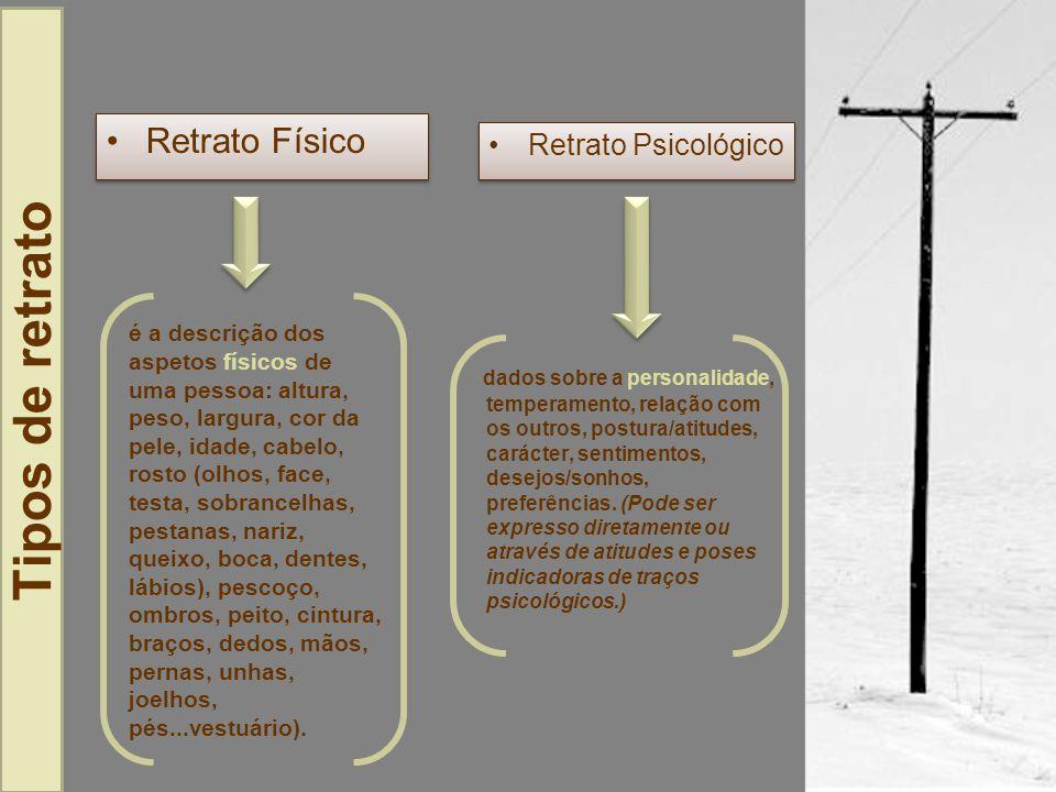 Retrato Físico Aspeto geralAspectos particulares Figura - alto, baixo, de estatura média, magro, gordo, forte, franzino,...