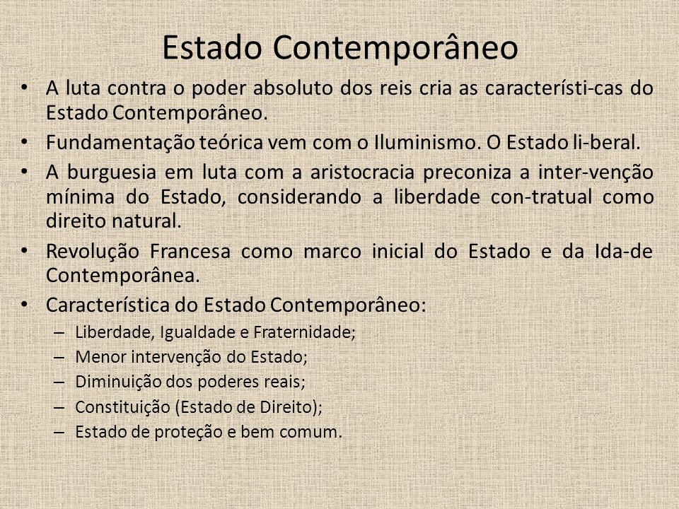 Estado Contemporâneo A luta contra o poder absoluto dos reis cria as característi-cas do Estado Contemporâneo. Fundamentação teórica vem com o Ilumini