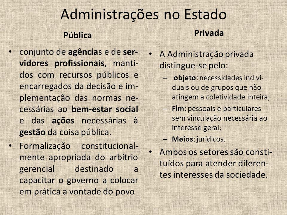 Administrações no Estado Pública conjunto de agências e de ser- vidores profissionais, manti- dos com recursos públicos e encarregados da decisão e im