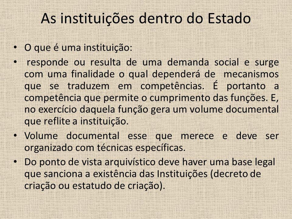 As instituições dentro do Estado O que é uma instituição: responde ou resulta de uma demanda social e surge com uma finalidade o qual dependerá de mec