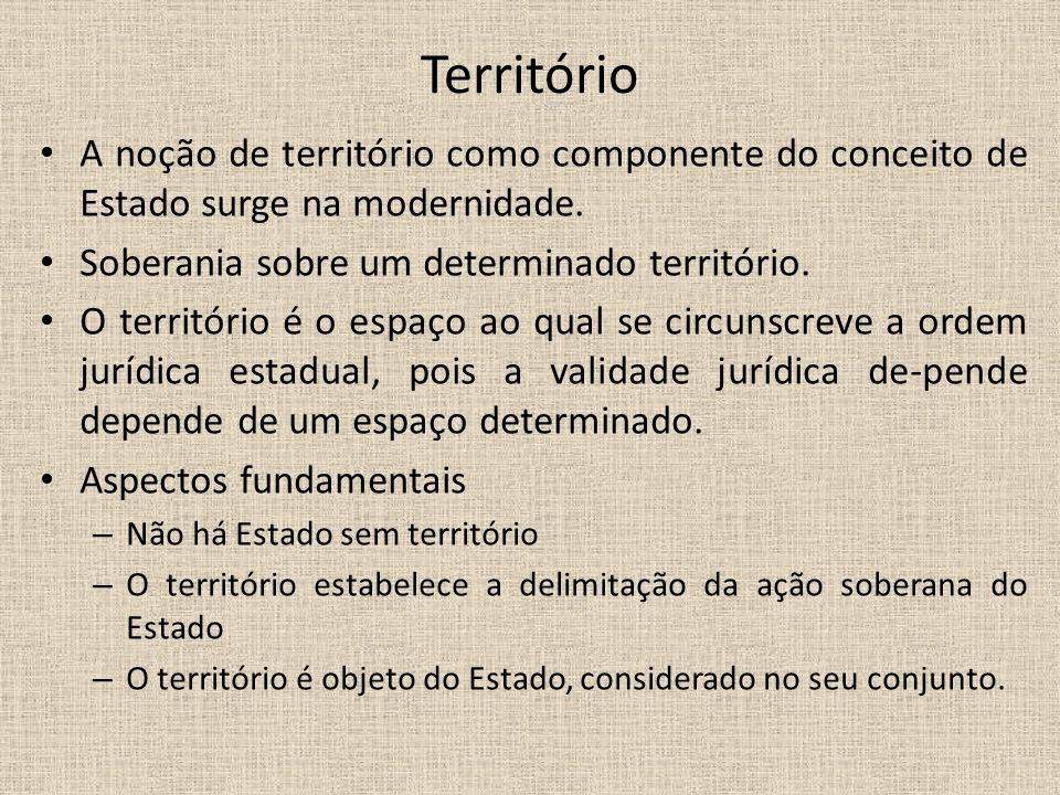 Território A noção de território como componente do conceito de Estado surge na modernidade. Soberania sobre um determinado território. O território é