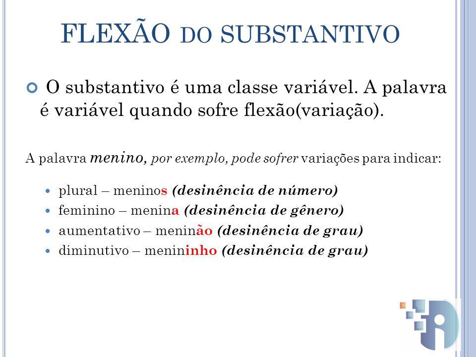 O substantivo é uma classe variável.A palavra é variável quando sofre flexão(variação).