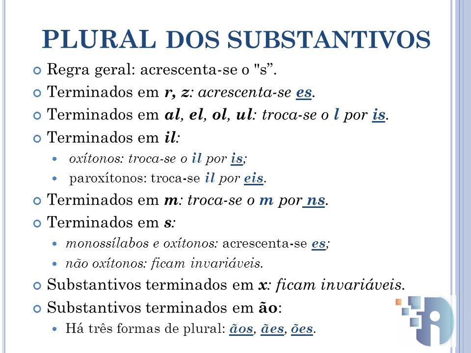 PLURAL DOS SUBSTANTIVOS Regra geral: acrescenta-se o s .
