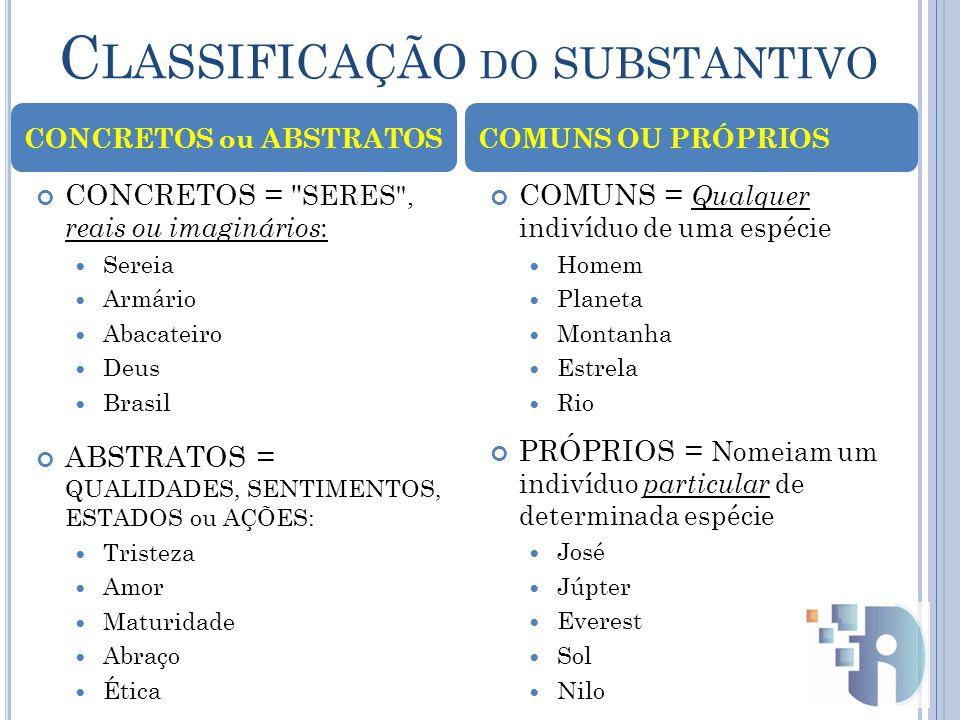 C LASSIFICAÇÃO DO SUBSTANTIVO COLEÇÃO DE SERES DA MESMA ESPÉCIE ALCATÉIA (lobos) CARDUME (peixes) ENXAME (abelhas) COLETIVOS