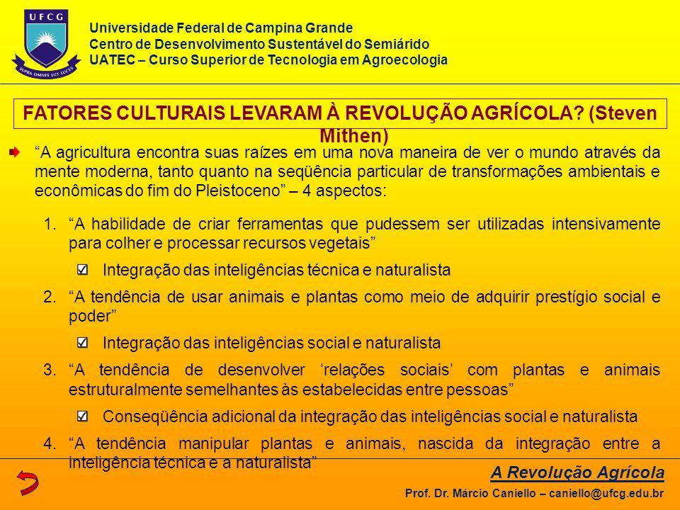 """FATORES CULTURAIS LEVARAM À REVOLUÇÃO AGRÍCOLA? (Steven Mithen) """"A agricultura encontra suas raízes em uma nova maneira de ver o mundo através da ment"""