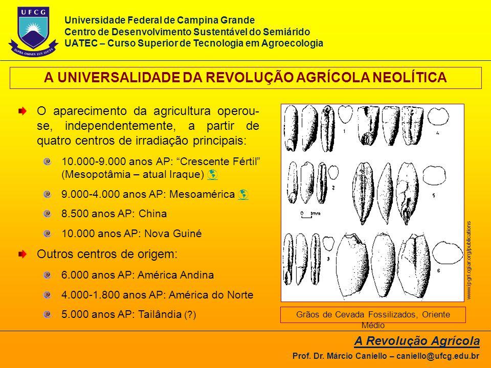 A UNIVERSALIDADE DA REVOLUÇÃO AGRÍCOLA NEOLÍTICA O aparecimento da agricultura operou- se, independentemente, a partir de quatro centros de irradiação