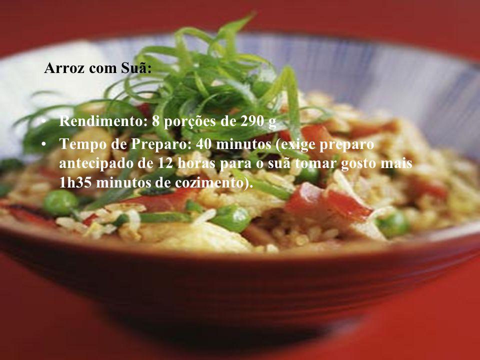 Arroz com Suã: Rendimento: 8 porções de 290 g Tempo de Preparo: 40 minutos (exige preparo antecipado de 12 horas para o suã tomar gosto mais 1h35 minu