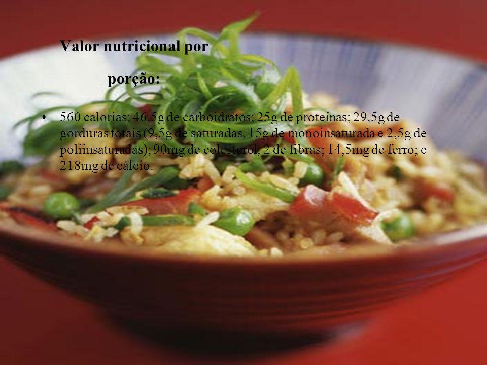 Valor nutricional por porção: 560 calorias; 46,5g de carboidratos; 25g de proteínas; 29,5g de gorduras totais (9,5g de saturadas, 15g de monoinsaturad