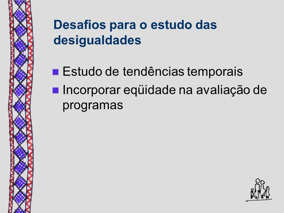 Desafios para o estudo das desigualdades Estudo de tendências temporais Incorporar eqüidade na avaliação de programas