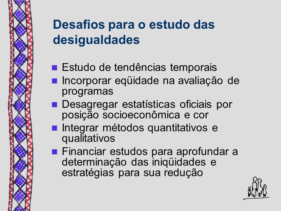 Desafios para o estudo das desigualdades Estudo de tendências temporais Incorporar eqüidade na avaliação de programas Desagregar estatísticas oficiais por posição socioeconômica e cor Integrar métodos quantitativos e qualitativos Financiar estudos para aprofundar a determinação das iniqüidades e estratégias para sua redução