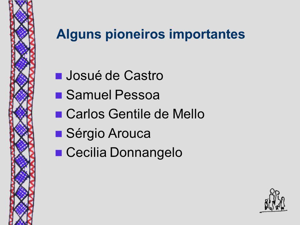 Alguns pioneiros importantes Josué de Castro Samuel Pessoa Carlos Gentile de Mello Sérgio Arouca Cecilia Donnangelo