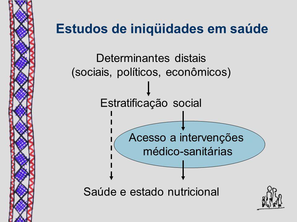 Estudos de iniqüidades em saúde Determinantes distais (sociais, políticos, econômicos) Estratificação social Acesso a intervenções médico-sanitárias S