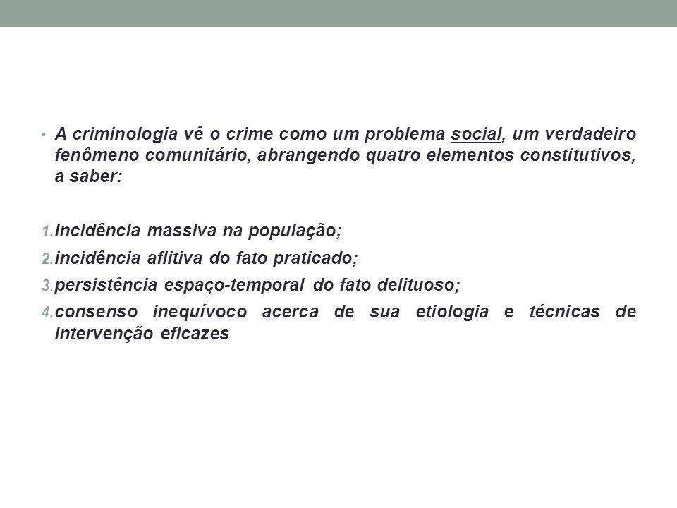 A criminologia vê o crime como um problema social, um verdadeiro fenômeno comunitário, abrangendo quatro elementos constitutivos, a saber: 1. incidênc