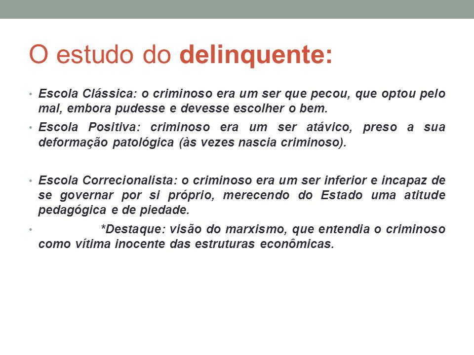 O estudo do delinquente: Escola Clássica: o criminoso era um ser que pecou, que optou pelo mal, embora pudesse e devesse escolher o bem. Escola Positi