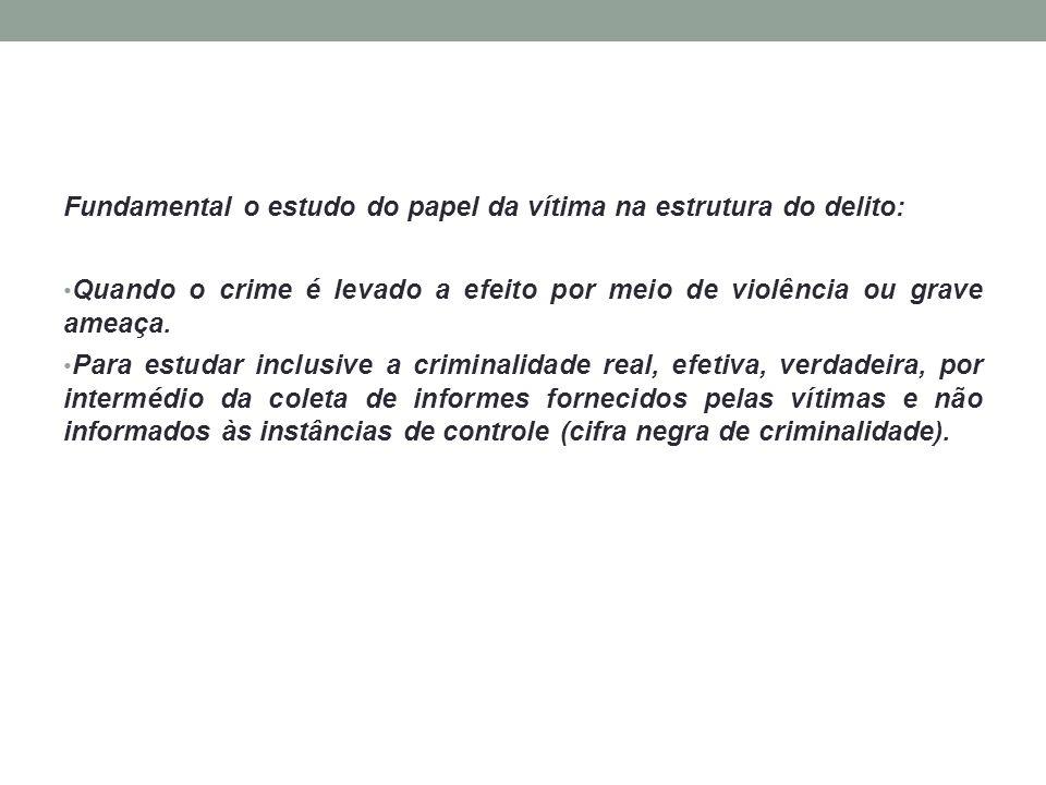 Fundamental o estudo do papel da vítima na estrutura do delito: Quando o crime é levado a efeito por meio de violência ou grave ameaça. Para estudar i